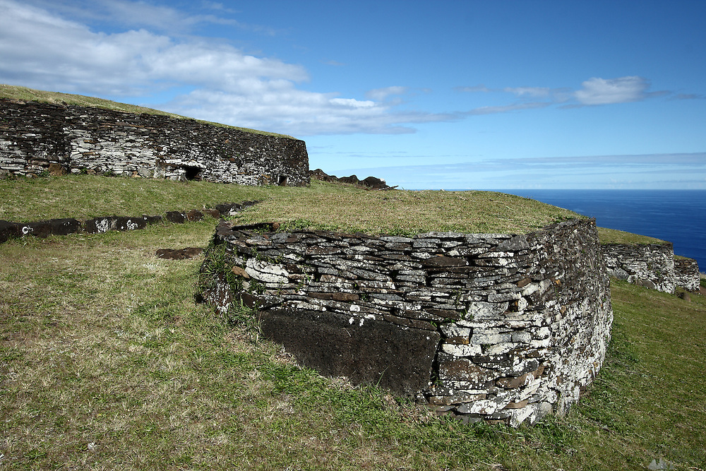 Houses in the village of Orongo are built into the hill, sitting on Easter Island's south-western cliffs, where the birdman cult used to live