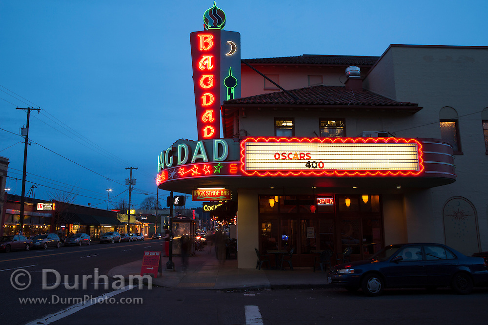 Bagdad theater and pub on Hawthorne street, a shopping district in SE Portland, Oregon.