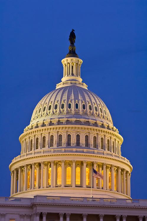 The U. S. Capitol dome at twilight, Washington D.C., U.S.A.