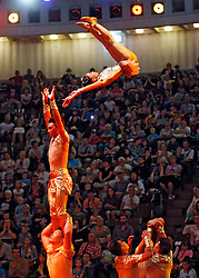 September 15, 2016 - Kiev, Ukraine - Circus artists perform during the presentation of the new show program  ''Extreme Arena'' at the Ukrainian National Circus in Kiev, Ukraine, 15 September,2016. The show will be staged from 15 September to 11 December 2016. (Credit Image: © Str/NurPhoto via ZUMA Press)