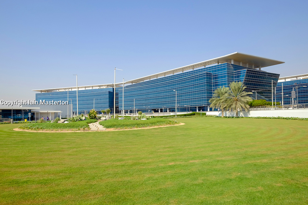 Modern office buildings at Dubai World Central logistics hub in Jebel Ali Dubai United Arab Emirates