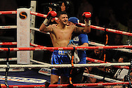 WBA Inter-Continental cruiserweight title.<br /> Nathan Cleverly of Wales celebrates after his win  v Sean Corbin of Guyana.'The second coming'  boxing event at the Motorpoint Arena in Cardiff, South Wales on Sat 17th May 2014. <br /> pic by Andrew Orchard, Andrew Orchard sports photography.