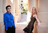 Jessica and Anthony's Engagement session at an upscale Orange County CA mall