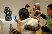 Picasso's head of a woman, with photographers, at MoMA.