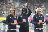 Athletics - 2017 IAAF London World Athletics Championships - Day One<br /> <br /> Medal Ceremonies for rehoming of medals from positive drug testing<br /> Great Britain team members in the 4 x 400m relay, receive their medals at the London Stadiuim.<br /> <br /> COLORSPORT/ANDREW COWIE