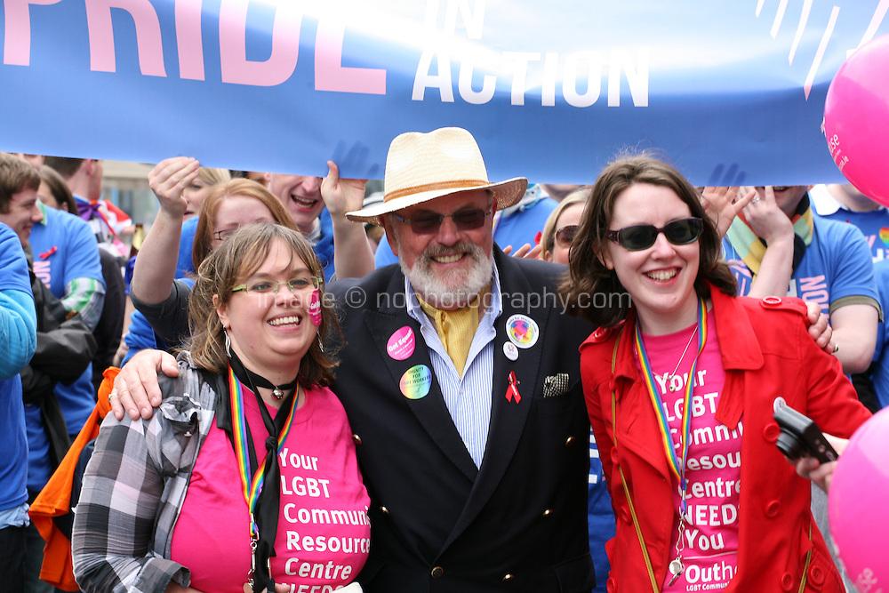 Senator David Norris (center)  with the Pride in Action group at the Dublin Pride 2012 LGBTQ festival parade  Dublin City Ireland. Saturday 30th June 2012.
