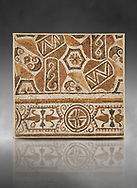 Pictures of a geometric Roman mosaic, from the ancient Roman city of Thysdrus. 3rd century AD. El Djem Archaeological Museum, El Djem, Tunisia. Against a grey background .<br /> <br /> If you prefer to buy from our ALAMY PHOTO LIBRARY Collection visit : https://www.alamy.com/portfolio/paul-williams-funkystock/roman-mosaic.html . Type - El Djem - into the LOWER SEARCH WITHIN GALLERY box. Refine search by adding background colour, place, museum etc<br /> <br /> Visit our ROMAN MOSAIC PHOTO COLLECTIONS for more photos to download as wall art prints https://funkystock.photoshelter.com/gallery-collection/Roman-Mosaics-Art-Pictures-Images/C0000LcfNel7FpLI