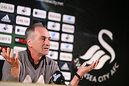 Francesco Guidolin, the Swansea city head coach speaks to the media at the Swansea city press conference at the Liberty Stadium in Swansea, South Wales on Thursday 14th April 2016. the team are preparing for their next match against Newcastle Utd on Saturday. <br /> pic by Andrew Orchard, Andrew Orchard sports photography.