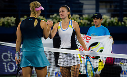 February 19, 2019 - Dubai, ARAB EMIRATES - IAngelique Kerber of Germany & Dalila Jakupovic of Slovenia at the net after their second-round match at the 2019 Dubai Duty Free Tennis Championships WTA Premier 5 tennis tournament (Credit Image: © AFP7 via ZUMA Wire)