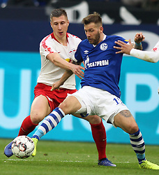 March 16, 2019 - Gelsenkirchen, Germany - Breel Embolo of Schalke, (right), and Willi Orban of RB Leipzig are seen in action during the German Bundesliga soccer match between FC Schalke 04 and RB Leipzig in Gelsenkirchen. (Credit Image: © Osama Faisal/SOPA Images via ZUMA Wire)
