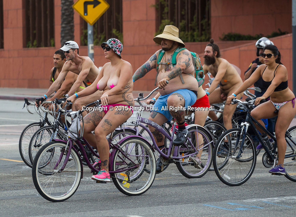 Participants in the World Naked Bike Ride where nude cyclists ride through Downtown Lo Angeles on June 27, 2015 (Photo by Ringo Chiu/PHOTOFORMULA.com)
