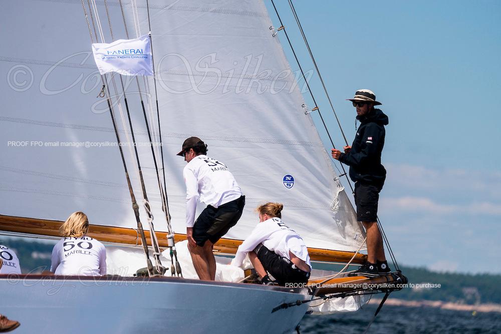 Marilee sailing in the Marblehead Corinthian Classic Yacht Regatta.