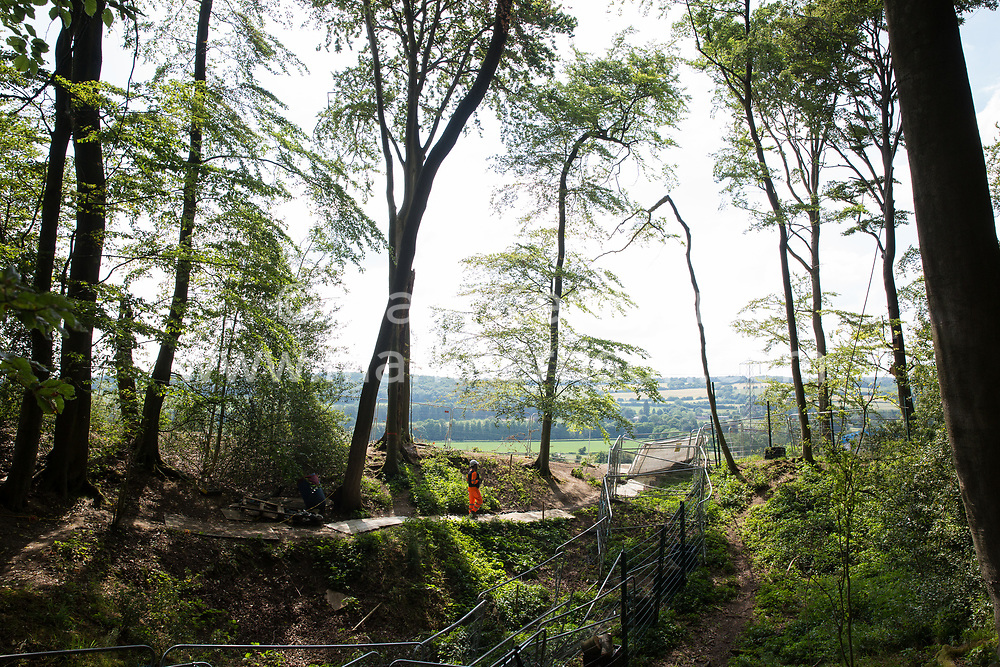 Wendover, UK. 16th June, 2021. Ancient woodland at Jones Hill Wood in Buckinghamshire is pictured as works for the HS2 high-speed rail link continue. A large section of the ancient woodland, which contained resting places and/or breeding sites for pipistrelle, barbastelle, noctule, brown long-eared and natterer's bats, has now been entirely cleared of trees and vegetation by contractors working on behalf of HS2 Ltd.