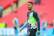 Manchester City forward Gabriel Jesus (33) warms up during the The FA Cup semi-final match between Manchester City and Brighton and Hove Albion at Wembley Stadium, London, England on 6 April 2019.