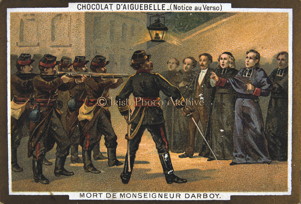 Paris Commune 26 March-28 May 1871. The Bloody Week:  Execution of hostages by the Commune. Mgr Darboy, Archbishop of Paris, and 5 other hostages shot  in the prison of la Roquette on the orders of Theophile Ferre, 24 May. Chromolithograph.