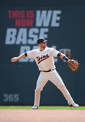 May 2, 2018 - Minneapolis, MN, U.S. - MINNEAPOLIS, MN - MAY 02: Minnesota Twins Second base Brian Dozier (2) throws to 1st during a MLB game between the Minnesota Twins and Toronto Blue Jays on May 2, 2018 at Target Field in Minneapolis, MN.The Twins defeated the Blue Jays 4-0.(Photo by Nick Wosika/Icon Sportswire) (Credit Image: © Nick Wosika/Icon SMI via ZUMA Press)