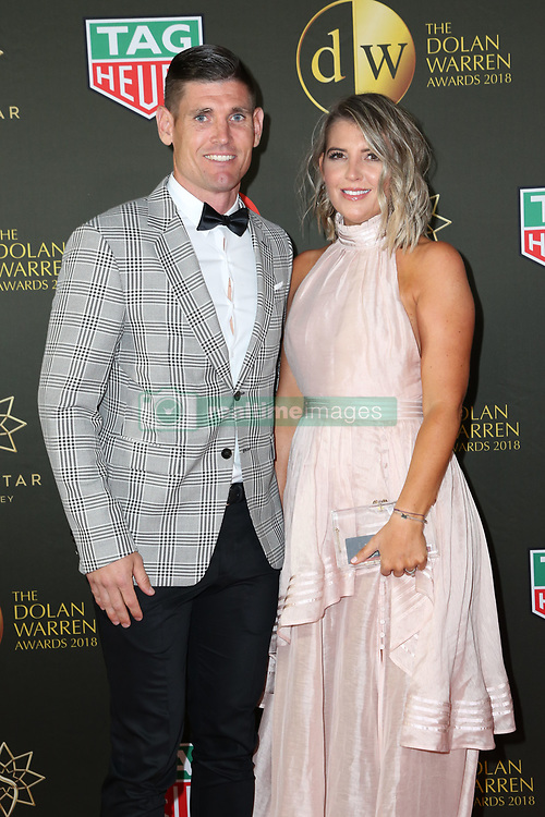 Players from the Westfield W-League and Hyundai A-League arrive on the red carpet for the 2018 Dolan Warren Awards at The Star Event Centre - 80 Pyrmont St, Pyrmont, NSW. 30 Apr 2018 Pictured: Liam Reddy and Christie Reddy. Photo credit: Richard Milnes / MEGA TheMegaAgency.com +1 888 505 6342