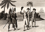 Robinson Crusoe and his companion Friday, left, with the English Captain whom he has helped to subdue the mutiny on his ship. After 28 years marooned on his island, Crusoe joins the ship and sails for home. 'The Life and strange and surprising Adventures of Robinson Crusoe' by Daniel Defoe first published 1719, based partly on 1704-1709 experiences of Alexander Selkirk and claimed by some to be first English novel. Engraving from edition c1790.