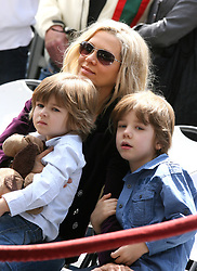Danielle Spencer, wife of Russell Crowe looks on with their two children as Crowe is honored with a star on the Hollywood Walk of Fame, California