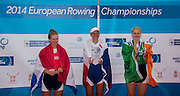 Belgrade, SERBIA,   A Finals Women's single sculls medals. left,  Silver medalist NED W1X, Chantel ACTERBURG, middle, Gold Medalist CZE W1X, Mirka KNAPKOVA and Right bronze medalist IRL W1X, Sanita PUSPUE at the 2014 FISA European Rowing Championships. Lake Sava. <br /> <br /> <br /> 14:43:38  Sunday  01/06/2014<br /> <br /> [Mandatory Credit; Peter Spurrier/Intersport-images]