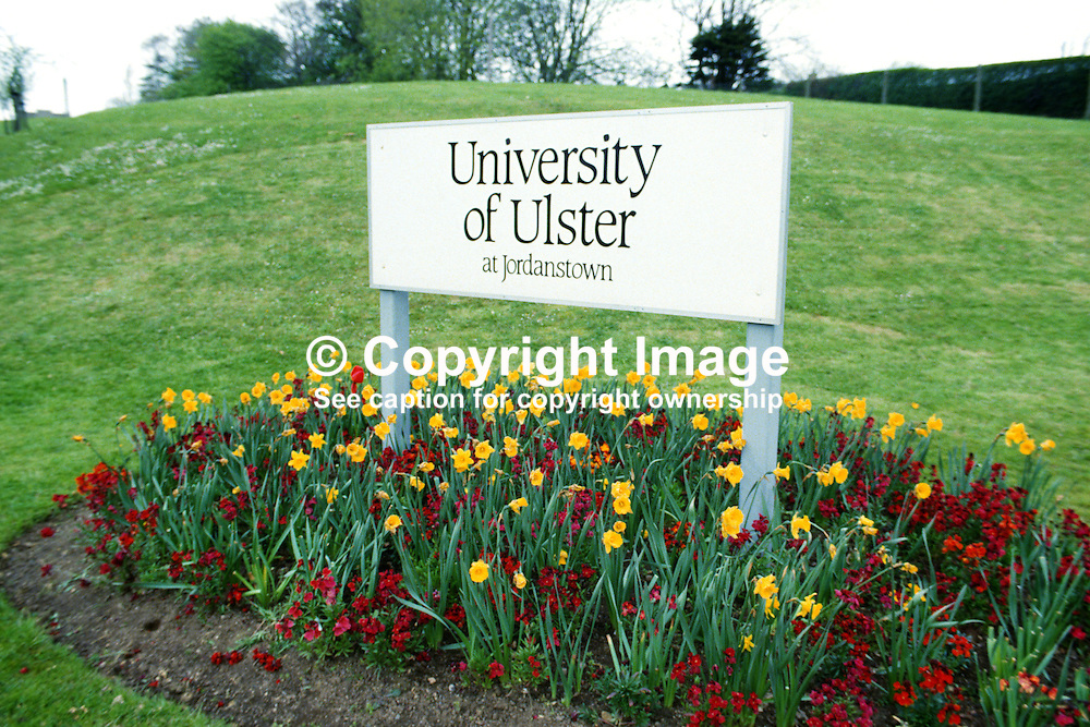 Entrance sign, University of Ulster, Jordanstown, N Ireland, 19850416UUJ1.<br /> <br /> Copyright Image from Victor Patterson, Belfast, UK<br /> <br /> t: +44 28 9066 1296 (from Rep of Ireland 048 9066 1296)<br /> m: +44 7802 353836<br /> e: victorpattersonbelfast@gmail.com<br /> <br /> www.images4media.com<br /> <br /> Please see my full Terms and Conditions of Use at https://www.images4media.com/p/terms-conditions - it is IMPORTANT that you familiarise yourself with them.<br /> <br /> Images used online incur an additional cost. This cost should be agreed in writing in advance. Online images must be visibly watermarked i.e. © Victor Patterson or that of the named photographer within the body of the image. The original metadata must not be deleted from images used online.<br /> <br /> This image is only available for the use of the download recipient i.e. television station, newspaper, magazine, book publisher, etc, and must not be passed on to a third party. It is also downloaded on condition that each and every usage is notified within 7 days to victorpattersonbelfast@gmail.com.<br /> <br /> The right of Victor Patterson (or the named photographer) to be identified as the author is asserted in accordance with The Copyright Designs And Patents Act (1988). All moral rights are asserted.