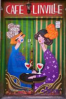 Georgie, Caucase, Tbilissi, vieille ville, enseigne de café // Georgia, Caucasus, Tbilisi, old city, painting in a cafe
