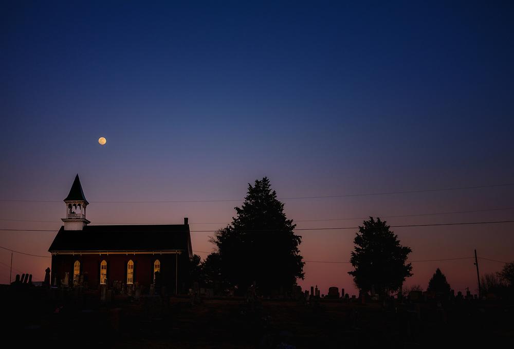 Full moon over Saint John the Baptist Orthodox Church in Lewistown, Maryland.