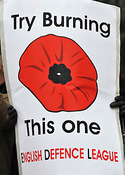 © under license to London News Pictures. 22/11/2010. A banner carried by supporters of the EDL. English Defence League founder Stephen Lennon appears in court today (Monday) in West London accused of assaulting a police officer on the anniversary of Armistice Day. Lennon was arrested during a counter protest against a hardline Islamic group. Photo credit should read: Stephen Simpson/LNP