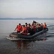 Thursday 10 September 2015 at 18:51 a boat carrying around 50 Syrians, men, women and children is approaching the beach of Kagia near Skala Sikaminias at the northern shores of Lesbos island.  <br /> Aysha is at the rear of the dinghy sobbing. She left 5 days ago Aleppo.
