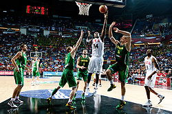 Lamar Odom of USA vs RobertasJavtokas of Lithuania during the first semifinal basketball match between National teams of USA and Lithuania at 2010 FIBA World Championships on September 11, 2010 at the Sinan Erdem Dome in Istanbul, Turkey.   (Photo By Vid Ponikvar / Sportida.com)