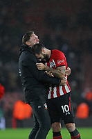 Football - 2018 / 2019 Premier League - Southampton vs. Arsenal<br /> <br /> Southampton Manager Ralph Hasenhuttl hugs Southampton's Charlie Austin after the final whistle at St Mary's Stadium Southampton<br /> <br /> COLORSPORT/SHAUN BOGGUST