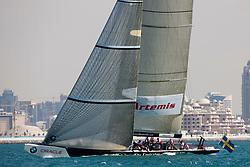 Artemis Racing (SWE) vs. Emirates Team New Zealand (NZL). Both teams win one match. Dubai, United Arab Emirates, November 19th 2010. Louis Vuitton Trophy  Dubai (12 - 27 November 2010) © Sander van der Borch / Artemis Racing
