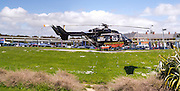 Helicopter ambulance on the pad at Southland Hospital, Invercargill New Zealand