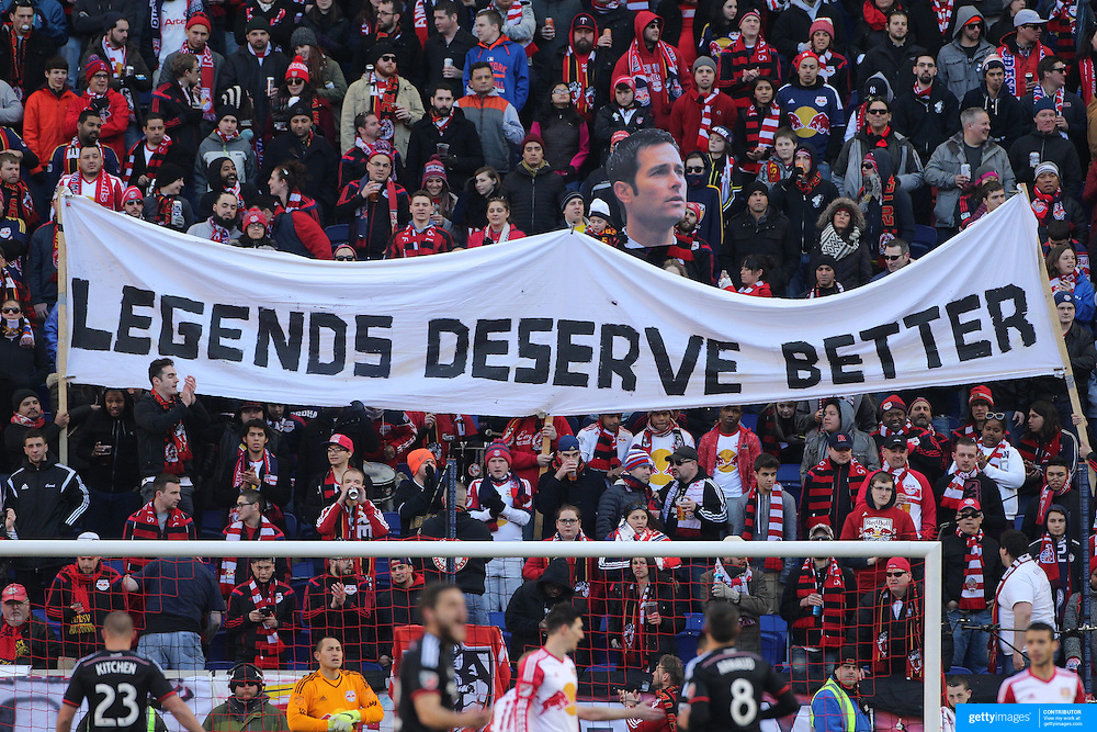Fans protest against the dismissal of former coach Mike Petke during the New York Red Bulls Vs D.C. United, Major League Soccer regular season opening match at Red Bull Arena, Harrison, New Jersey. USA. 22nd March 2015. Photo Tim Clayton