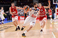 Real Madrid's Sergio Llull and EA7 Emporio Armani Milan's Mantas Kalnietis and Andrea Cinciarini during Turkish Airlines Euroleage match between Real Madrid and EA7 Emporio Armani Milan at Wizink Center in Madrid, Spain. January 27, 2017. (ALTERPHOTOS/BorjaB.Hojas)