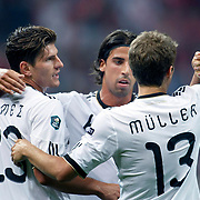 Germany's Thomas MULLER (R) celebrate his goal with team mate during their UEFA EURO 2012 Qualifying round Group A matchday 19 soccer match Turkey betwen Germany at TT Arena in Istanbul October 7, 2011. Photo by TURKPIX