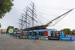 © Licensed to London News Pictures. 03/10/2021. London, UK. Elite women runners run past the Cutty Sark during the London Marathon 2021. Photo credit: Ray Tang/LNP
