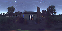 Summertime Night Sky over New Jersey (360 Equirectangular Panorama). Composite of images (21:00-21:59) taken with a Ricoh Theta Z1 camera (ISO 400, dual 2.6 mm fisheye lens, f/2.1, 60 sec).