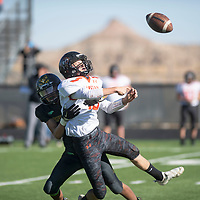 Newcomb Skyhawks' Leandreth Begay (1) tackles Capitan Tigers' Garrison Weems (19) for a loss during Saturday's game in Newcomb. Capitan beat Newcomb 32-30.