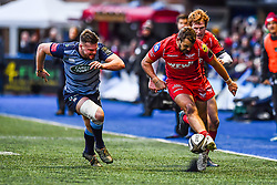 Scarlets' Paul Asquith kicks ahead - Mandatory by-line: Craig Thomas/Replay images - 31/12/2017 - RUGBY - Cardiff Arms Park - Cardiff , Wales - Blues v Scarlets - Guinness Pro 14