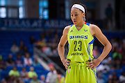 Aerial Powers of the Dallas Wings looks on against the Connecticut Sun during a WNBA preseason game in Arlington, Texas on May 8, 2016.  (Cooper Neill for The New York Times)