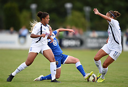 Nadia Lawrence of Bristol Academy Women battles with Jessica Carter and Josanne Potter of Birmingham City Ladies - Mandatory by-line: Paul Knight/JMP - Mobile: 07966 386802 - 29/08/2015 -  FOOTBALL - Stoke Gifford Stadium - Bristol, England -  Bristol Academy Women v Birmingham City Ladies FC - FA WSL Continental Tyres Cup