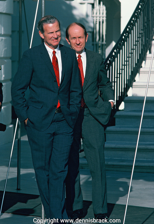 James Baker and Michael Deaver before a South Lawn ceremony in November 1982<br />Photo by Dennis Brack bb71