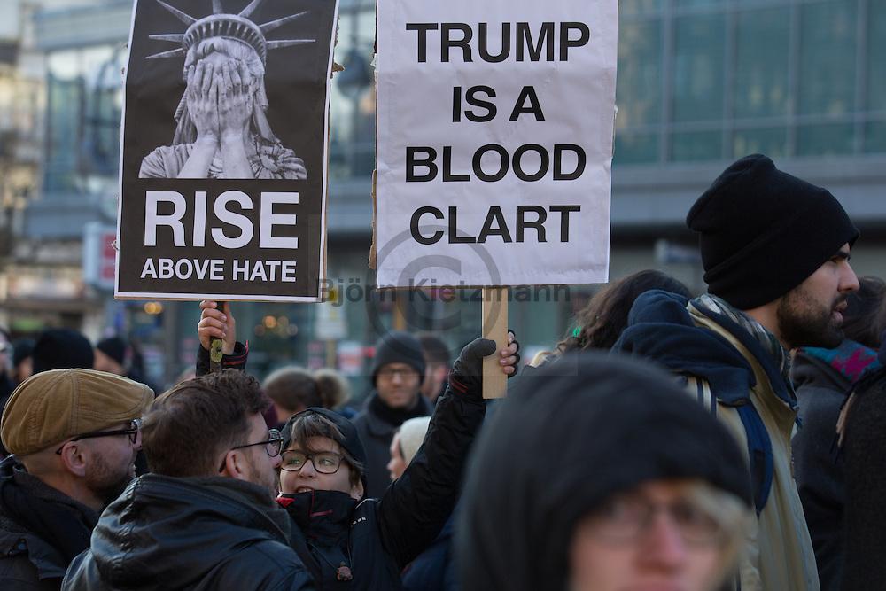 "Berlin, Germany - 12.11.2016<br /> <br /> ""Pussy grabs back"" protest rally in Berlin-Neukoelln against the election of Donald Trump as next US-president.<br /> <br /> Protest-Kundgebung in Berlin-Neukoelln mit dem Motto ""Pussy grabs back"" gegen die Wahl von Donald Trump zum US-Präsidenten. <br /> <br /> Photo: Bjoern Kietzmann"