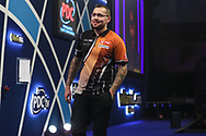 Benito van de Pas leaves the stage after his third round victory against Toni Alcinas during the World Darts Championships 2018 at Alexandra Palace, London, United Kingdom on 27 December 2018.
