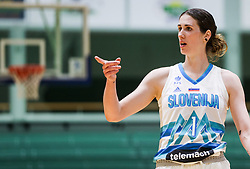 Eva Lisec of Slovenia during friendly basketball match between Women National Teams of Slovenia and Montenegro, on May 21, 2021 in Arena Tri Lilije, Lasko, Slovenia. Photo by Vid Ponikvar / Sportida