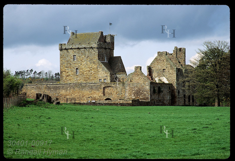 Balgonie Castle (14th-cen) is home of family that rents it out for parties and banquets; Fife. Scotland