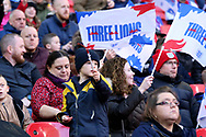 Small child waving 3 lions flag during the UEFA Nations League match between England and Croatia at Wembley Stadium, London, England on 18 November 2018.