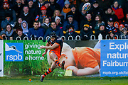 Castleford Tigers scrum half Luke Gale (7) scores the conversion to make the score 10-6 during the Betfred Super League match between Castleford Tigers and Widnes Vikings at the Jungle, Castleford, United Kingdom on 11 February 2018. Picture by Simon Davies.