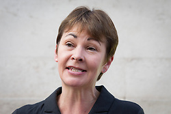 © Licensed to London News Pictures. 18/10/2013. London, UK. Recently arrested Green Party MP, Caroline Lucas is seen at a protest against the re-privatisation of the United Kingdom's East Coast Line in London today (18/10/2013) ahead of handing in a petition consisting of 23,000 commuter's signatures to the transport ministry. The East Coast Line, which runs from London to Scotland, is currently the only publicly owned train line after passing to the government from previous operator National Express who encountered financial difficulties. Photo credit: Matt Cetti-Roberts/LNP
